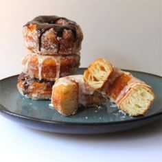 Cronuts with Lemon Vanilla and Chocolate Ganache Glazes