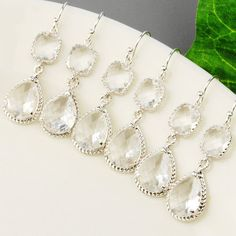 10 OFF Set Of 5 Bridesmaid Jewelry  Clear by MyDistinctDesigns, $162.00