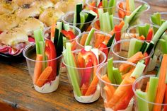 Veggie Cups...such a good idea.  Looks neat on display, easy to grab, fun to eat.