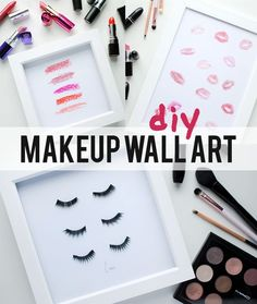 Here's a DIY for the makeup lover and the home decor enthusiast! This is a really easy project to try that requires an hour of your time, some makeup (old or new, it's up to you) and a few picture fra