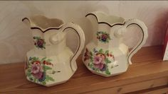 """Pountney & Allies 1816-35 7"""" tall snake handle pearlware jugs decorated in William Fifield style"""