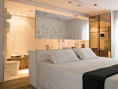 Construindo Minha Casa Clean: Paredes com Pedras! Bedroom With Bath, Small Room Bedroom, Small Rooms, Dream Bedroom, Home Bedroom, Master Bedroom, Open Bathroom, Glass Bathroom, Bathroom Wall