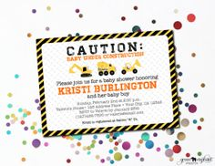 Construction Truck Themed Baby Shower Printable Invitation | Caution: Baby Under Construction | by Green Elephant Prints www.greenelephantprints.etsy.com
