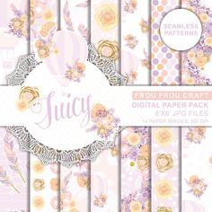 Peach Pink Lavender Seamless Pattern Flower Hot by froufroucraft