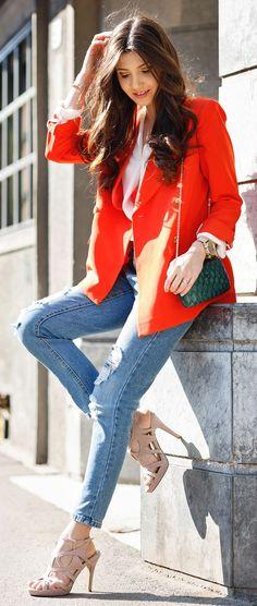 Orange Blazer Outfit Idea