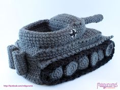 PATTERN for Tiger 1 Tank  - Panzer Crocheted Slippers. $6.99, via Etsy.