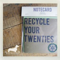 Recycle Your Twenties. Hand Embroidered Birthday Note Card -- (Modern, Simple, Brown Kraft, Gift for Guys, 30th Birthday, Funny, Under 10). $5.00, via Etsy.