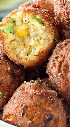 A perfect blend of sweet and savory, these fluffy fritters are packed with flavor, fried to crispy perfection, and served with a spicy honey sriracha aioli. Corn Recipes, Seafood Recipes, Appetizer Recipes, Cooking Recipes, Cornmeal Recipes, Honey Recipes, Yummy Appetizers, Veggie Recipes, Bread Recipes
