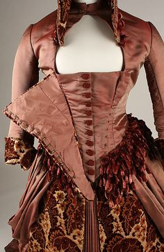 Brocade and satin gown with chenille fringe trim (front, bodice closure detail), American, ca. 1879.