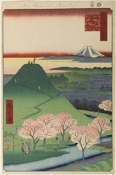 Hiroshige - One Hundred Famous Views of Edo Spring 24 New Fuji in Meguro (目黒新富士 Meguro Shin-Fuji?)Mita Aqueduct, Mount Fuji replica, Mount FujiSubject is a replica (one of many) of Mount Fuji erected in 1829 by Fuji worshippers1857 / 4Nakameguro, Meguro