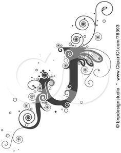 Royalty-Free (RF) Clipart Illustration of a Vine Alphabet Letter J by BNP Design Studio