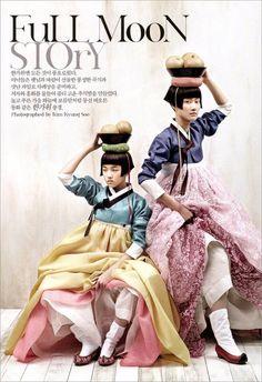 Korean traditional wear: hanbok // Kyung Soo Kim The Full Moon Story, Vogue Korea 2007