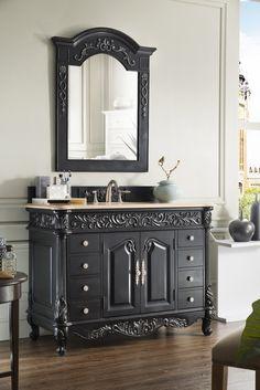 Photo On  inch Antique Bathroom Vanity Empire Black Finish Marble Top