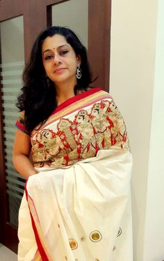 Pen Kalamkari Cut Work on Kerala Saree Paarvati Kiriyath Bharath Hastakala Kalamkari Winter Collection 2015