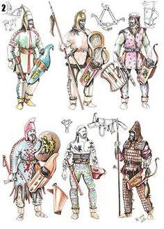 Scythian warriors by Dušan Vasiljevic Iron Age, European Tribes, Persian Warrior, Parthian Empire, Military Costumes, Celtic Warriors, Ancient Persian, Classical Antiquity, Deer Art