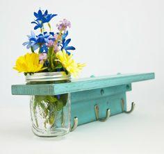 Country Wall Shelf with Coat Hooks and Mason Jar Vase - TRWoodworks on #etsy