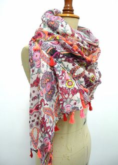 Tassel Scarf Oversize Shawl early spring ,holiday, Boho, Aztec Scarf Tribal Scarf -in Scarves from Women's Clothing & Accessories on Aliexpress.com | Alibaba Group