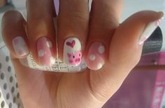 Piggy Nails -- repinning because I have to so this for my friends going away to boot amp party. He loves pigs.