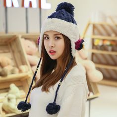 Fleece knit bomber hat for girls hairball decoration winter hat with ear flaps