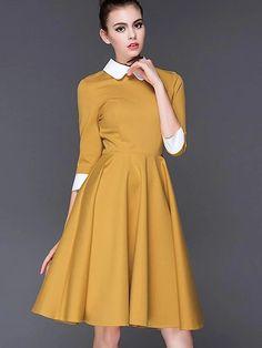 Fashion Cotton 3/4 Sleeve Collect Waist Big Hem Dress