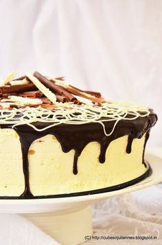 Dark Chocolate Coffee Cake with Passion Fruit-Orange Bavarian Cream!