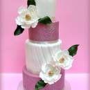 Wedding Cake with sugar magnolias