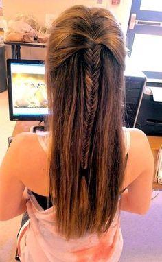 braids into half ponytail - Google Search