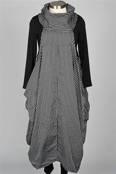 Dress To Kill - Cowl Dress - Black & Grey Stripe