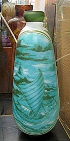 Galle Signed Tall Vase with Pale Blue and Green Ship at Sea Decoration - at auction - opening bid USD 150.00  at icollector.com