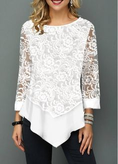 Lace Panel Asymmetric Hem Round Neck T Shirt – T-Shirts & Sweaters Stylish Tops For Women, Fashion Outfits, Womens Fashion, Fashion Clothes, Fashion Weeks, Fashion Fashion, Moda Casual, Women's Casual, Lace Tops