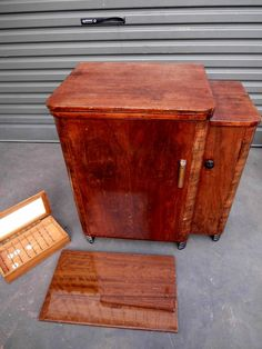 OLD ANTIQUE SEWING MACHINE CABINET WITH HIDDEN DRAWERS REEL STORAGE ADELAIDE