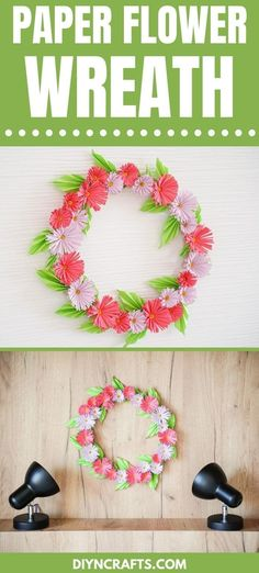 Turn basic paper into this stunning paper chrysanthemum flower wreath! This easy paper craft creates a gorgeous piece of home decor! This easy paper flower wreath is a great papercraft project for anyone to create using simple affordable craft supplies. #FlowerWreath #PaperCraft #Wreath #PaperFlower #Chrysanthemum