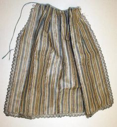 18th c silk striped apron with metallic trim