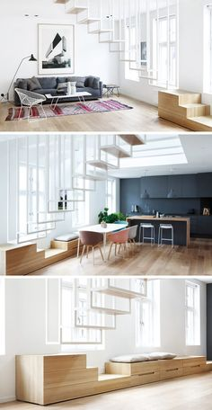13 Stair Design Ideas For Small Spaces // These floating stairs maintain the flow of the apartment and keep it feeling open by letting light pass through the openings in the staircase.