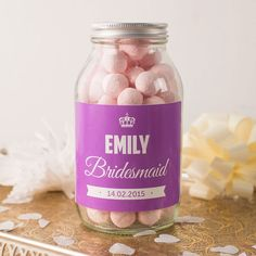 Personalised Jar of Strawberry Bonbons - Bridesmaid. A wonderful gift for your Bridesmaid that can be personalised with her name and the date of the special day. Shop now!