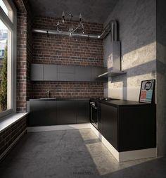 Endgültiges Design für eine schwarze Küche mit mattschwarzer Dekton Oberfläche…