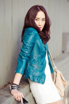 Chriselle Lim is wearing the Muubaa Sirius Biker from our S/S collection. The deep teal colour reminds us of the ocean and faraway places! Leather Jacket Outfits, Guess By Marciano, Sleek Look, Jackets For Women, Women's Jackets, Outfit Of The Day, Deep Teal, Street Style, Icons