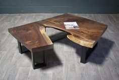 Black Walnut Reclaimed COFFEE TABLE - Live Edge - Natural - Modern
