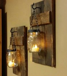 Rustic wood mason jar candle lights