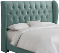 Skyline Furniture Velvet Tufted Queen Wingback Headboard, Caribbean by Skyline Furniture, http://www.amazon.com/dp/B005M7BSWU/ref=cm_sw_r_pi_dp_Yegnrb0821TB4