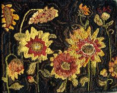 Fully Wooly Primitives - Sharon Smith Sunflower pattern - great use of color