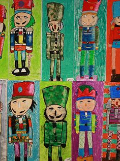 4th - Nutcrackers. I showed my 4th graders how to draw the simple shapes that make up the nutcrackers. Then I asked them to decorate the nutcrackers they drew by adding their own details. We talked about the element of design, value and how it makes things in art work look real. I showed them techniques that they could use with oil pastels to create value in their art work.