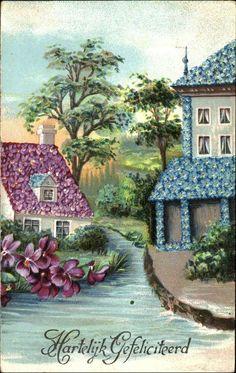 Hartelijk Gefeliciteerd DUTCH Happy Birthday violets forget me nots houses | Collectibles, Postcards, Holidays | eBay!