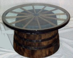 W A G O N ☆ W H E E L -- WOODEN Barrel Coffee Table