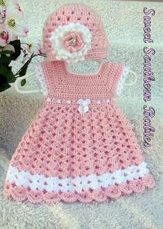 Baby Girl's Pink Dress with Matching Hat by SweetSouthernBabies - Baby Girl Dress - Ideas of Baby Girl Dress - Baby Girl's Pink Dress with Matching Hat by SweetSouthernBabies Crochet Princess, Baby Girl Crochet, Crochet Baby Clothes, Crochet For Kids, Crochet Dress Girl, Baby Patterns, Crochet Baby Dress Free Pattern, Knitting Patterns, Crochet Baby Dresses