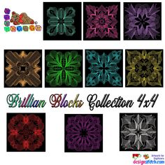 Brilliant Blocks Collection Machine Embroidery Design Collection 4X4  #quilting #MachineEmbroidery #embroidery #sewing #EmbroideryMachine #EmbroideryDesigns #quilt #Deco Janome, One Design, Machine Embroidery Designs, 4x4, Quilts, Stitch, This Or That Questions, Deco, Sewing