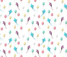80_jours_ballons_et_cerfs-volants_neige fabric by un_temps_de_coton on Spoonflower - custom fabric