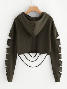 SheIn offers Drop Shoulder Ladder Cutout Sleeve Crop Hoodie & more to fit your fashionable needs. Crop Top Hoodie, Cropped Hoodie, Teen Fashion Outfits, Look Fashion, Fast Fashion, Cute Comfy Outfits, Trendy Outfits, Cut Sweatshirts, Hoodies
