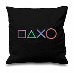 Black Art Design Playstation Buttons Throw Pillow Case Novelty Gaming Decorative Cushion Cover Cool Game Gamer Gifts Home Decor Video Game Bedroom, Video Game Rooms, Sofa Throw Pillows, Throw Pillow Cases, Cushions, Game Room Design, Gamer Room, Game Room Decor, Gamer Gifts