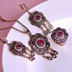Classic Style Turkish Vintage Jewelry Sets Necklace & Earrings & Ring Sculpture Flowers 3 Colors Resin Crystal Anti Gold tassels Like it?Visit us: www.jewelryabo.co... #shop #beauty #Woman's fashion #Products #homemade